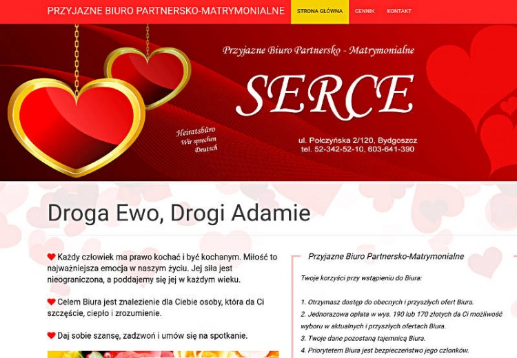 Strony z ogłoszeniami matrymonialnymi - Bydgoszcz - Serce