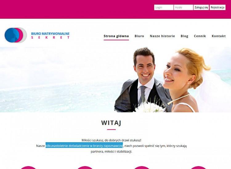 Widok strony biura matrymonialnego z Torunia SEKRET