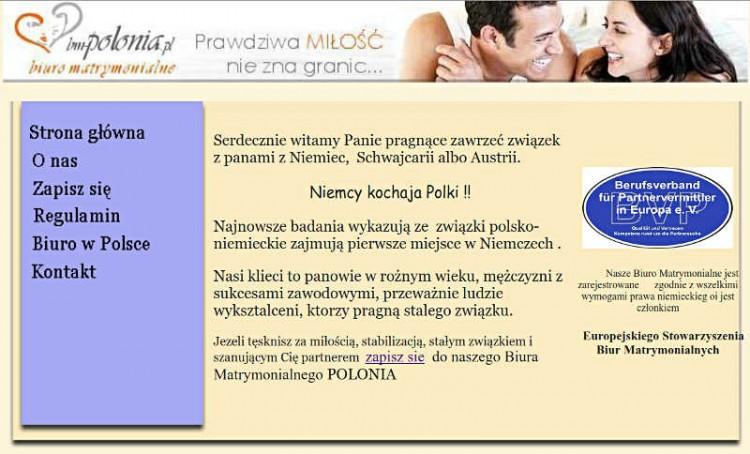 Widok strony internetowej biura matrymonialnego Polonia w Bydgoszczy